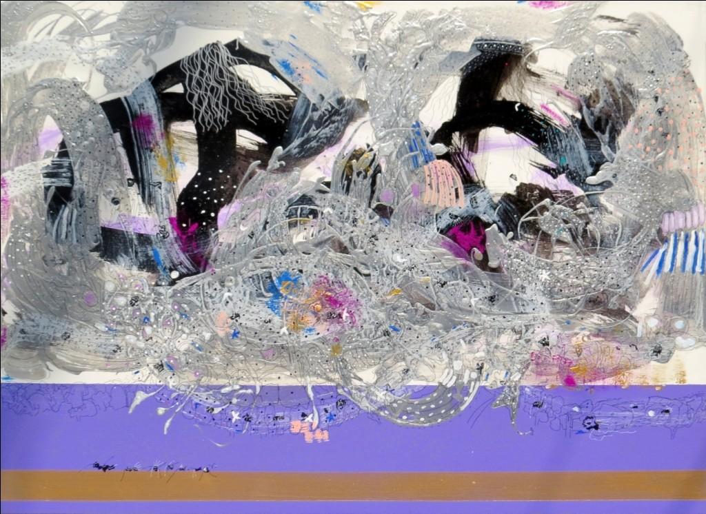 Jatra by Shridhar Iyer, Abstract Painting, Acrylic on Canvas, violet color