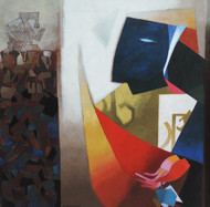 Ancestors II by Niren Sengupta, Expressionism Painting, Oil & Acrylic on Canvas, Brown color