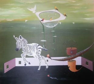 Aquarium With Bird by Uma Shankar Pathak, Surrealism Painting, Oil on Canvas, Beige color