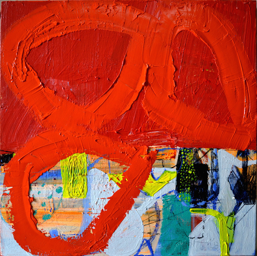 The Red City by Nidhi Agarwal, Abstract Painting, Acrylic on Canvas, Red color