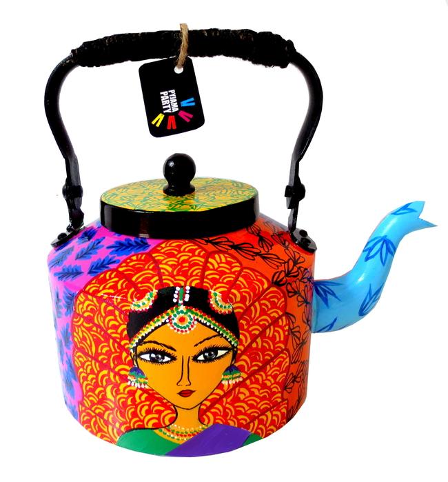 Premium hand-painted kettle- Bharatanatyam Dancer Serveware By Pyjama Party Studio