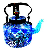 Premium hand-painted kettle- Blue peacocks Kitchen Ware By Pyjama Party Studio