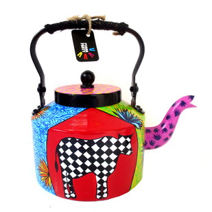 Premium hand-painted kettle- Chequered Cow Serveware By Pyjama Party Studio