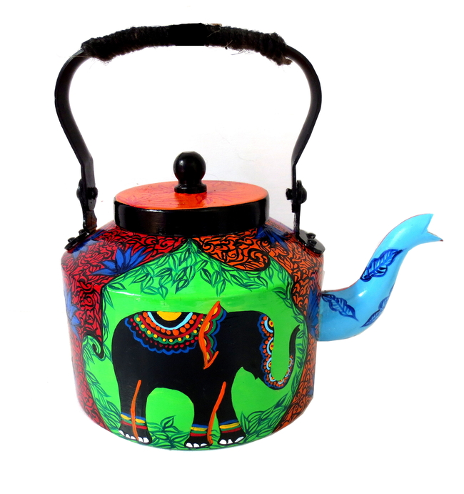Premium hand-painted kettle- Elephant Tales Serveware By Pyjama Party Studio