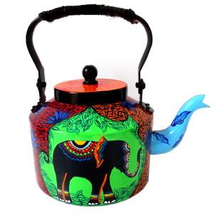 Premium hand-painted kettle- Elephant Tales Serveware By Pyjama Party Studio