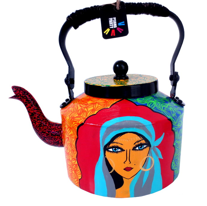 Premium hand-painted kettle- Gypsy Queen Serveware By Pyjama Party Studio