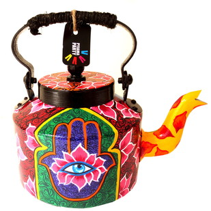 Premium hand-painted kettle- Hand of Fatima Serveware By Pyjama Party Studio