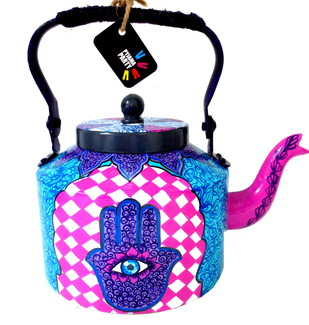 Premium hand-painted kettle- Hand of Fatima 2 by Pyjama Party Studio, Contemporary Serveware, Metal, White color