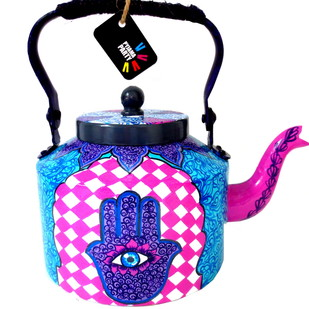 Premium hand-painted kettle- Hand of Fatima 2 Serveware By Pyjama Party Studio