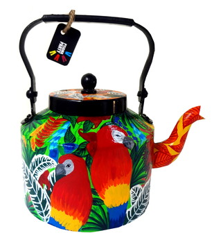 Premium hand-painted kettle- Rain forest Serveware By Pyjama Party Studio