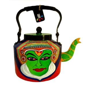Premium hand-painted kettle- Kathakali and Bharatanatyam dancer Serveware By Pyjama Party Studio