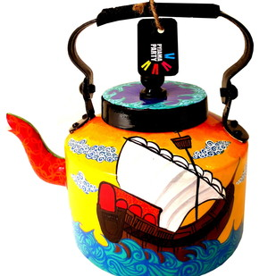 Premium hand-painted kettle- Sailing across the seven seas Serveware By Pyjama Party Studio
