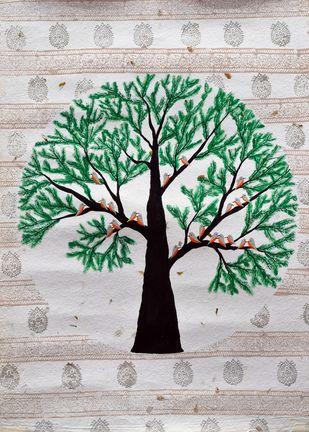 Ataravar by Sumit Mehndiratta, Decorative Painting, Acrylic & Ink on Paper, Gray color