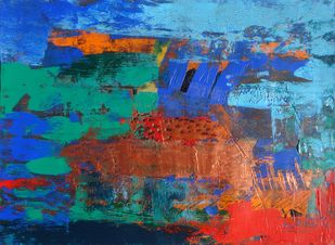 Palette Scape 1 by Nupur Kundu, Abstract Painting, Acrylic on Paper, Blue color