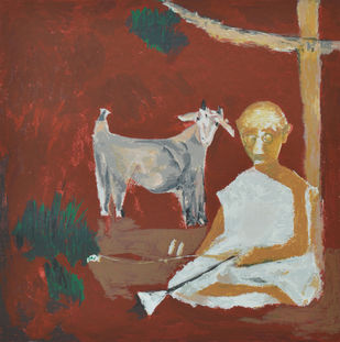 Bakri by Haku Shah, Impressionism Serigraph, Serigraph on Paper, Brown color