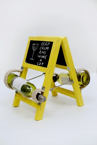 Ladder Wineholder (Yellow) by Desi Jugaad, Contemporary Table Ware, Wood, Gray color