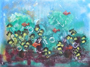 Blue Sea World by S. Venkatachalapathy, Fantasy Painting, Mixed Media on Canvas, Cyan color