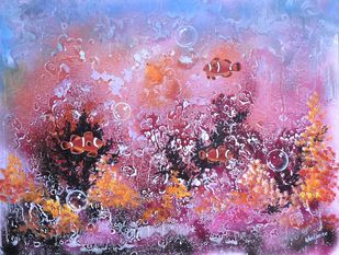 Sea world by S. Venkatachalapathy, Fantasy Painting, Mixed Media on Canvas, Pink color