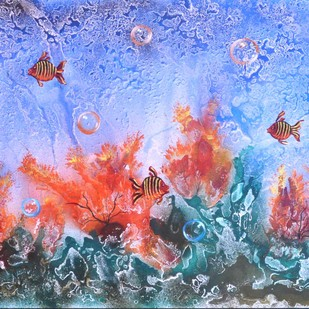 Fish In Water by S. Venkatachalapathy, Fantasy Painting, Mixed Media on Canvas, Cyan color