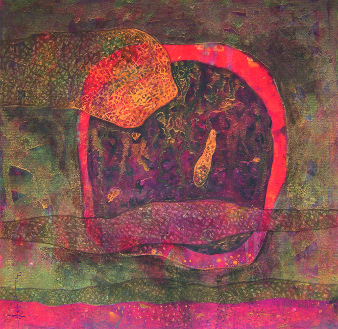 Greed by Abhijit Das, Expressionism Painting, Tempera on Board, Brown color