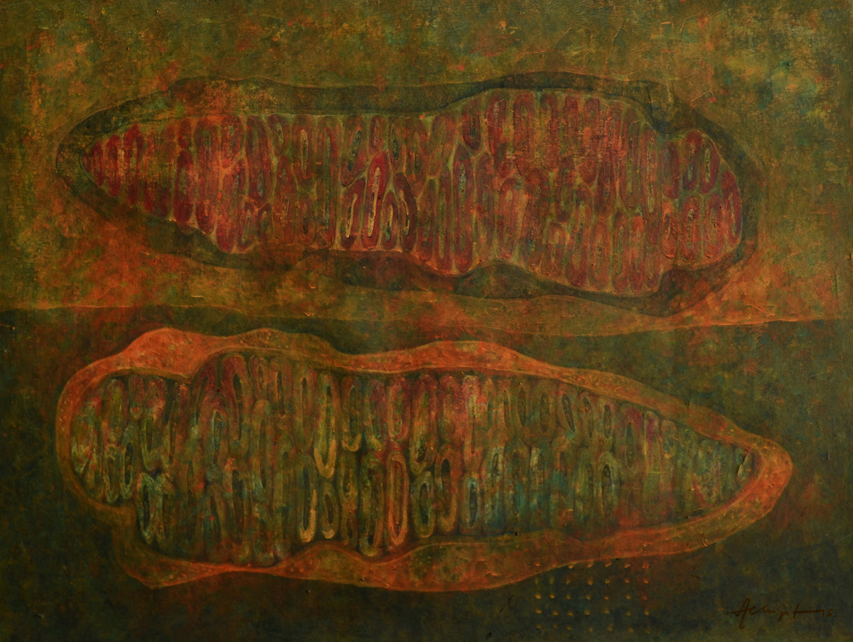 Radiation II by Abhijit Das, Expressionism Painting, Tempera on Board, Brown color
