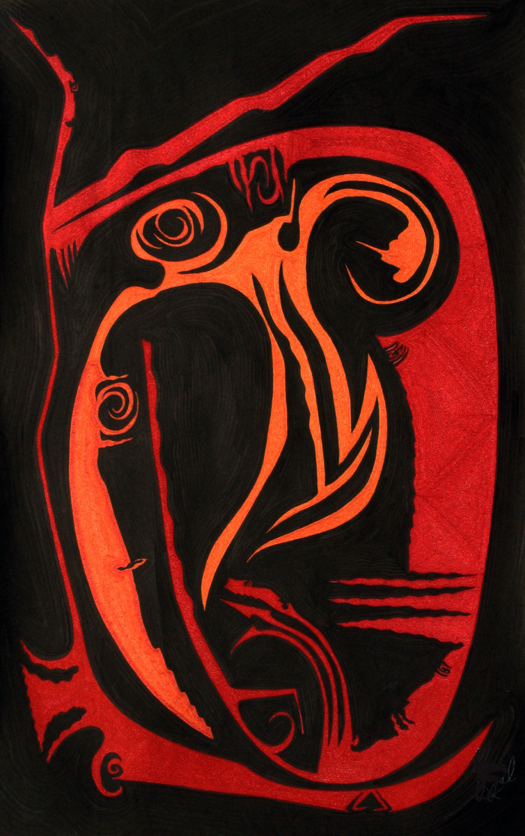 Losing Sight of Perspective - Black 3 by Dhanur Goyal, Expressionism Painting, Ink on Paper, Brown color