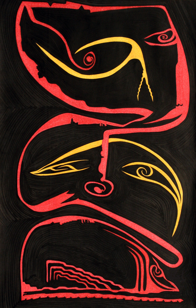 Losing Sight of Perspective - Black 4 by Dhanur Goyal, Expressionism Painting, Ink on Paper, Brown color