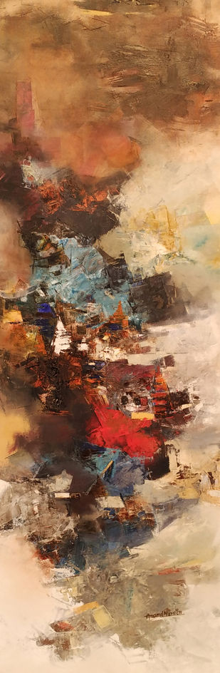 Banaras 15-2016 by Anand Narain, Impressionism Painting, Oil on Canvas, Brown color