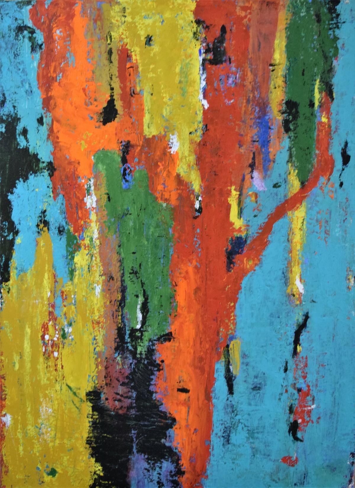 Tree Of Wisdom by Shreya Shailee, Abstract Painting, Acrylic on Board, Cyan color