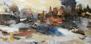 Banaras 9-2014 by Anand Narain, Impressionism Painting, Oil on Canvas, Beige color