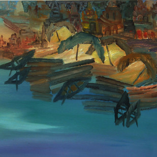 Banaras 7- 2006 by Anand Narain, Impressionism Painting, Oil on Paper, Green color