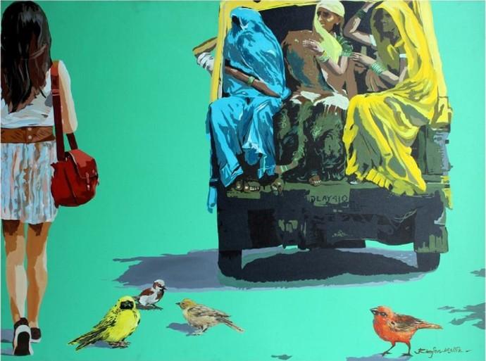 Social Ties 13 by Ranjan Kumar Mallik, Pop Art Painting, Acrylic on Canvas, Green color