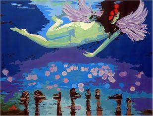 Social Ties 16 by Ranjan Kumar Mallik, Pop Art Painting, Acrylic on Canvas, Blue color