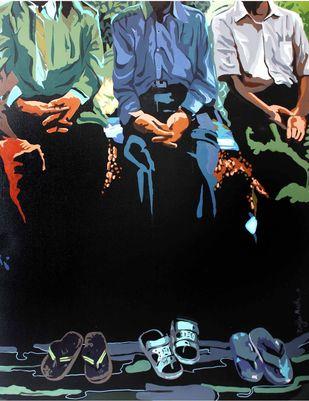 Social Ties, Generation I by Ranjan Kumar Mallik, Pop Art Painting, Acrylic on Canvas, Green color