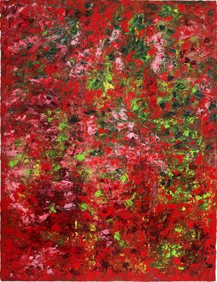 In Full Bloom by Sharmistha Ray, Abstract Painting, Oil on Canvas, Brown color