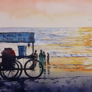 Beach Life 16 by Mopasang Valath, Impressionism Painting, Watercolor on Paper, Beige color
