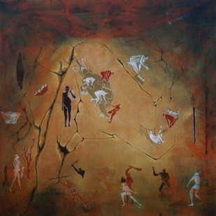 Muse 2 by Mukesh Rajak, Expressionism Painting, Acrylic on Canvas, Brown color