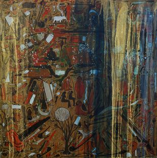 Muse 4 by Mukesh Rajak, Expressionism Painting, Acrylic on Canvas, Brown color