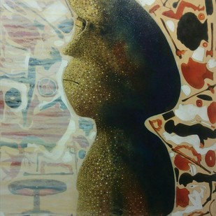 Muse 7 by Mukesh Rajak, Expressionism Painting, Acrylic on Canvas, Beige color