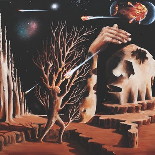 Pollution 5 by Mukesh Rajak, Surrealism Painting, Acrylic on Canvas, Brown color