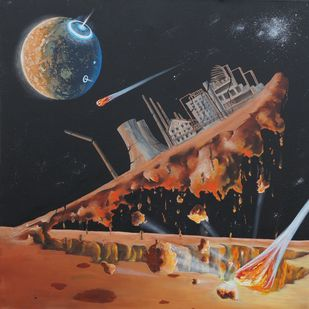 Pollution 6 by Mukesh Rajak, Surrealism Painting, Acrylic on Canvas, Brown color