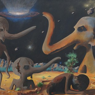 Pollution 7 by Mukesh Rajak, Surrealism Painting, Acrylic on Canvas, Gray color