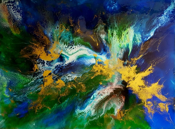 Peacock Throne by Anjalee S Goel, Abstract Painting, Mixed Media on Canvas, Green color