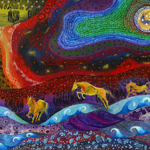 Gallop to Paradise by Pragati Sharma Mohanty, Fantasy Painting, Acrylic & Ink on Canvas, Blue color