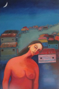 Life Garden by Aradhna Tandon, Impressionism Painting, Oil on Canvas, Blue color