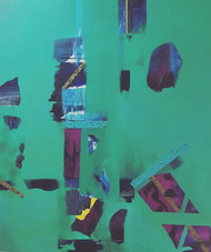 Emerald Depths by Sateesh Dingankar, Abstract Painting, Oil & Acrylic on Canvas, Green color