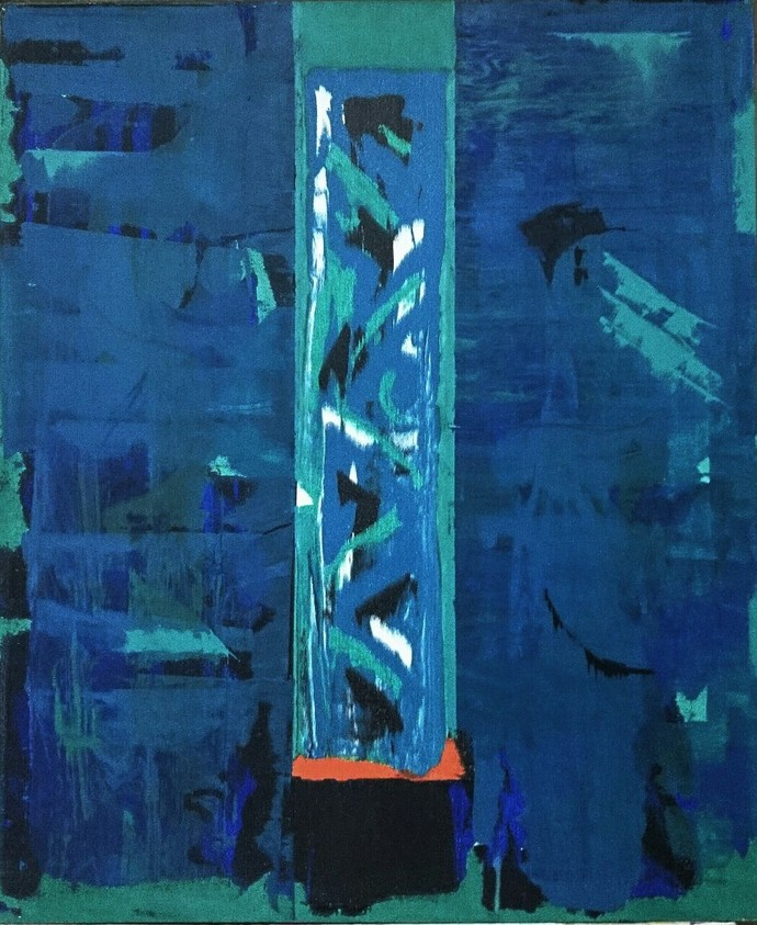 Orange Underscore by Sateesh Dingankar, Abstract Painting, Oil & Acrylic on Canvas, Blue color