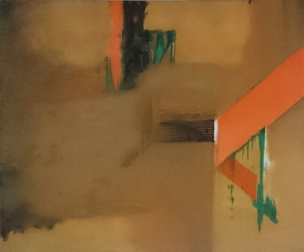 Ochre 2 by Sateesh Dingankar, Abstract Painting, Oil on Canvas, Brown color
