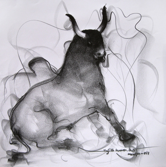 Bull drawing 93 by sujith kumar gs mandya impressionism drawing pencil on paper