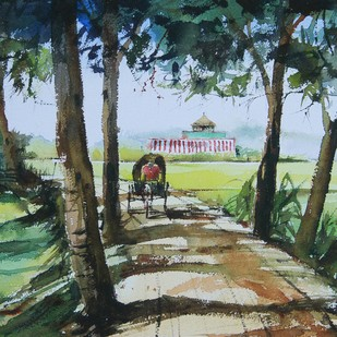 Country Road by Mopasang Valath, Impressionism Painting, Watercolor on Paper, Green color